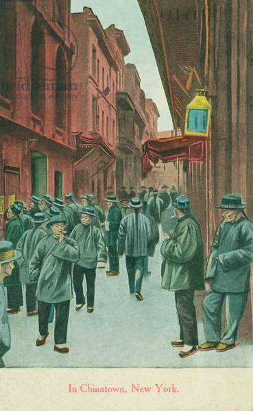 In Chinatown, New York, 1914 (colour litho)