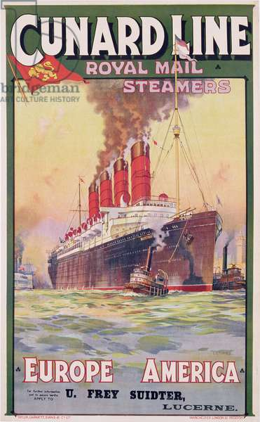 Poster advertising Cunard Line Royal Mail steamers, c.1912 (colour litho)