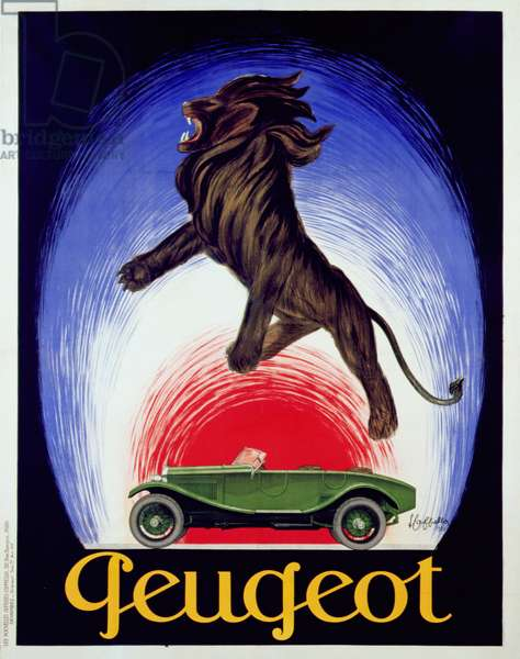Poster advertising Peugeot, 1925 (colour litho)