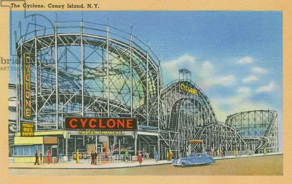 The Cyclone, Coney Island, c.1946 (colour litho)