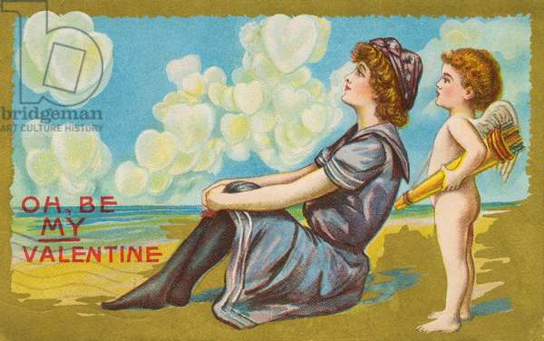 Oh Be My Valentine postcard, 1911 (colour litho)