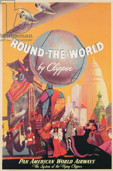 Poster advertising the Clippers of Pan American World Airways, c.1949 (colour litho)