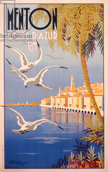 Poster advertising Menton, Cote d'Azur, printed by Moullot, Marseille, 1935 (colour litho)