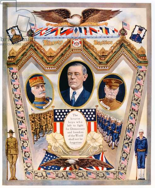 United for Victory, Liberty and Justice, 1918 (colour litho)