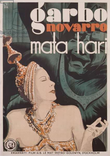 Poster advertising the film 'Mata Hari' starring Greta Garbo, printed by A.B. Offsettryck, Stockholm (colour litho)