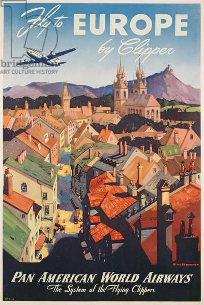 Poster advertising flights to Europe on the Flying Clipper, produced by Pan American Airlines, c.1949 (colour litho)