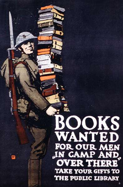 Poster appealing for public donations of books for World War I soldiers, c.1917-18 (colour litho)