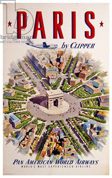 Paris By Clipper, Pan Am, 1950 (colour litho)