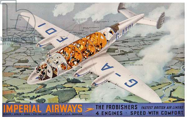 Imperial Airways - The Frobishers / 4 Engines, 1939 (colour litho)