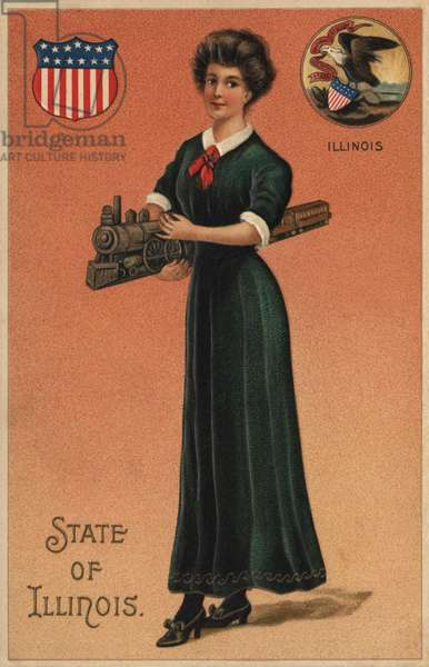 Postcard advertising the railroad in the State of Illinois, c.1912 (colour litho)