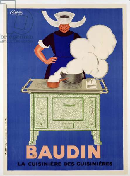 Poster advertising 'Baudin' stoves, published by Devambez, Paris, 1933 (colour litho)