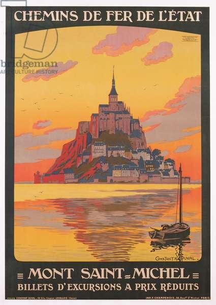 Poster of Mont Saint Michel, produced by Chemins de Fer de l'Etat, printed by F. Champenois, Paris, c.1925 (colour litho)
