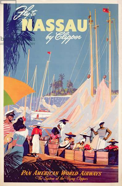 Poster advertising 'Pan American World Airlines', c.1950 (colour litho)