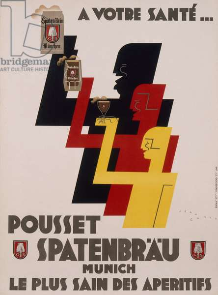 Poster advertising 'Spatenbraeu' beers, c.1930 (colour litho)