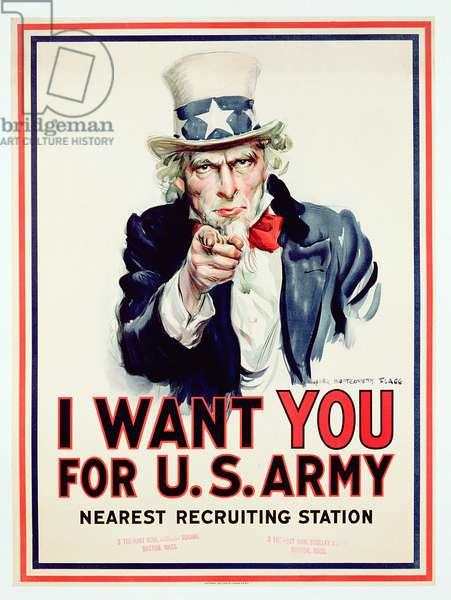 'I Want You for U.S. Army', American World War One recruitment poster (colour litho)