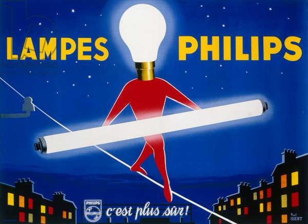 Lampes Philips, Tightrope, c.1954 (colour litho)