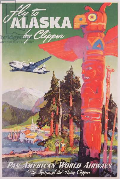 Poster advertising flights to Alaska on the flying Clipper, produced by Pan American Airlines, c.1950 (colour litho)