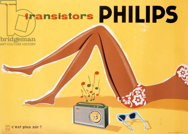 Poster advertising Philips transistors, printed by S.A. Courbet, Paris, c.1952 (colour litho)