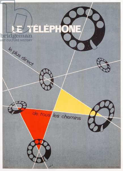 Advertisement for the telephone, c.1937 (colour litho)
