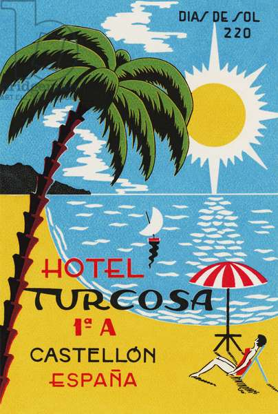 Luggage label advertising the Spanish Hotel Turcosa, printed c.1962 (colour litho)