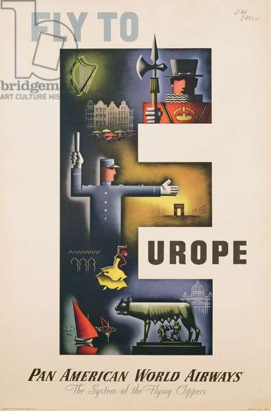 Poster advertising Pan American flights to Europe, 1949 (colour litho)