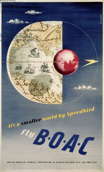 Poster advertising B.O.A.C. Airways, printed by McCoquodale & Company, London, c.1950 (colour litho)
