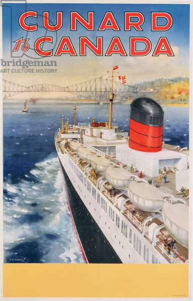 Poster advertising Cunard line routes to Canada, c.1950 (colour litho)