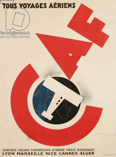 Poster advertising C.A.F. airlines, c.1929 (colour litho)