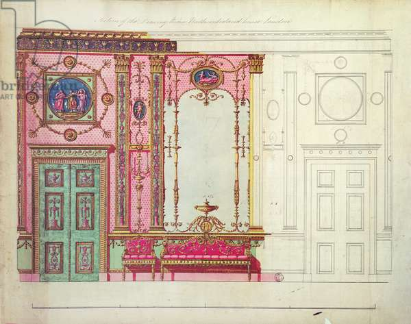 Section of the Drawing Room, Northumberland House, London; Design for end wall, (pen, ink and w/c)