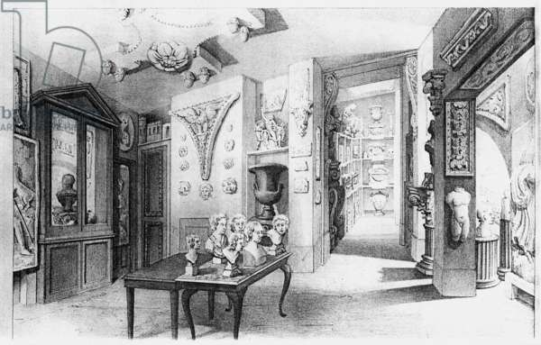 View of the Basement Ante Room, from the 'Description' of Soane's museum, 1835 (litho)