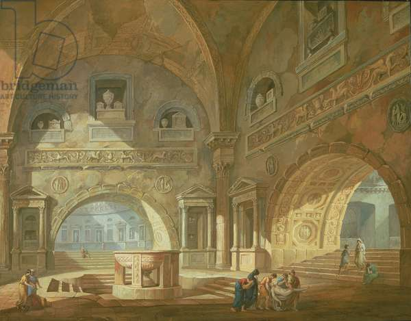 Interior of a mausoleum, 1772 (gouache on paper)