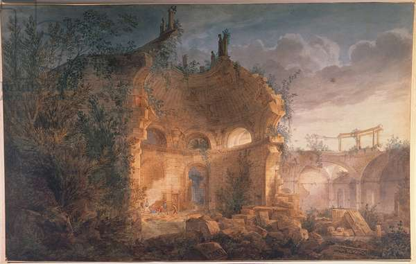 Sir John Soane's Rotunda of the Bank of England in Ruins (w/c heightened with white on paper)