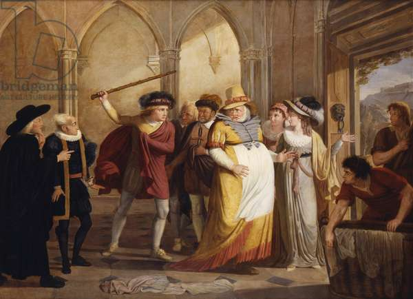 Falstaff in disguise led out by Mrs Page, Act 4 Scene 2, in The Merry Wives of Windsor, by William Shakespeare (1564-1616) c.1805 (oil on canvas)