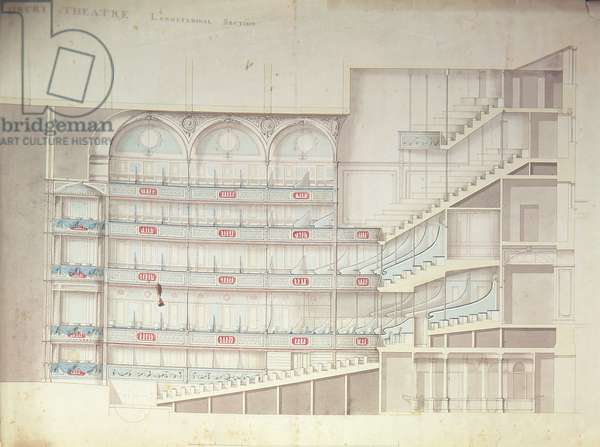 Drury Lane Theatre, sectional drawing of the interior