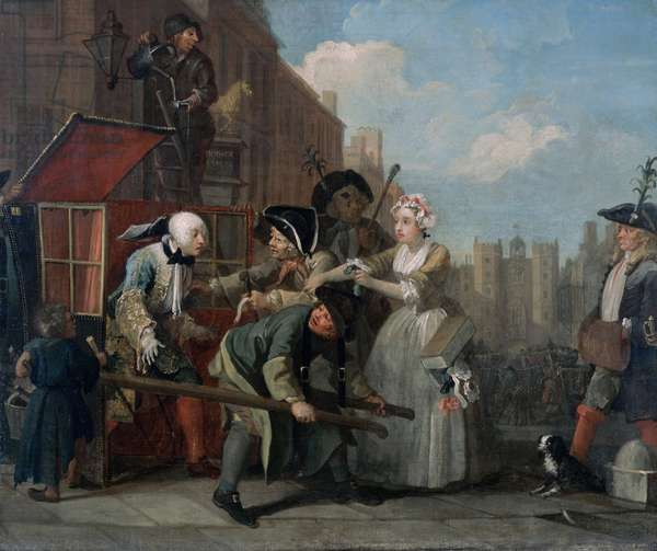 A Rake's Progress IV: The Rake Arrested, Going to Court, 1733 (oil on canvas)