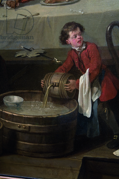 A distracted scullion pours a cask of brandy onto a half-barrel of filthy slops, detail from An Election, Scene I, An Election Entertainment, 1744-45 (oil on canvas)