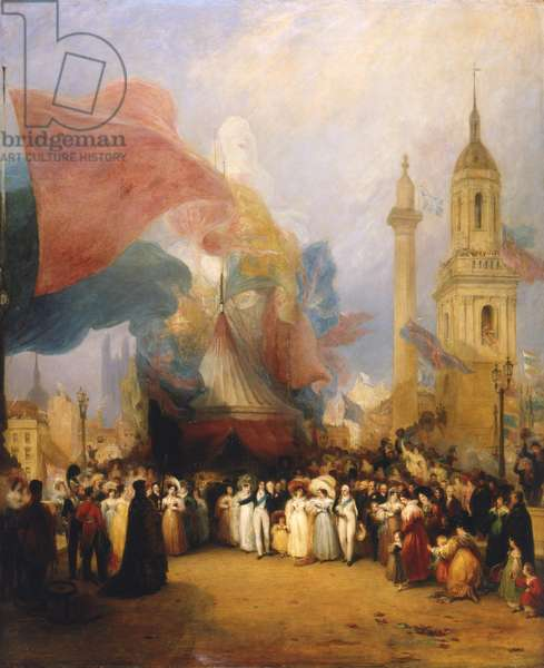 The Royal Procession at the Opening of London Bridge, 1831 (oil on canvas)