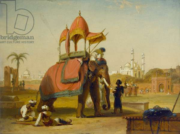 A Caparisoned Elephant - Scene near Delhi (A Scene in the East Indies), 1832 (oil on canvas)