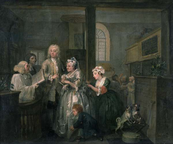 A Rake's Progress V: The Rake marrying an Old Woman, 1733 (oil on canvas)