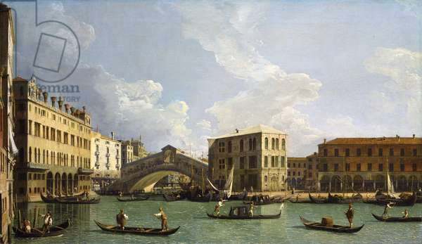View of the Rialto Bridge, from the North, c.1734-35 (oil on canvas)