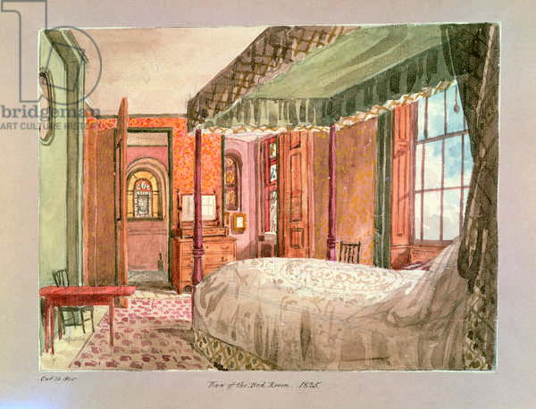 View of the Bed Room, 1825 (w/c on paper)