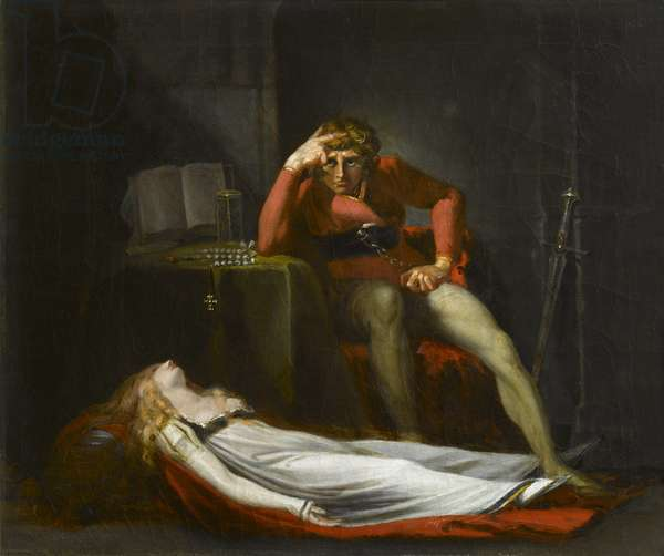 The Italian Court, or Ezzelier, Count of Ravenna musing over the body of Meduna, slain by him for infidelity during his absence in the Holy Land, c.1780 (oil on canvas)
