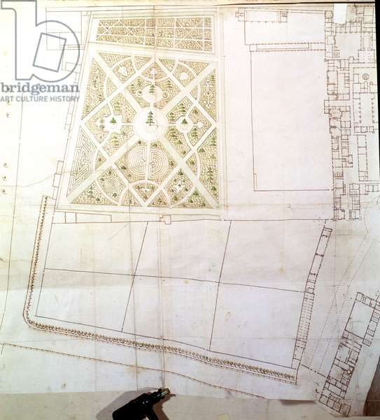 Site plan and survey of The Wilderness, Hampton Court, c.1710-14 (pen & ink and w/c on paper)
