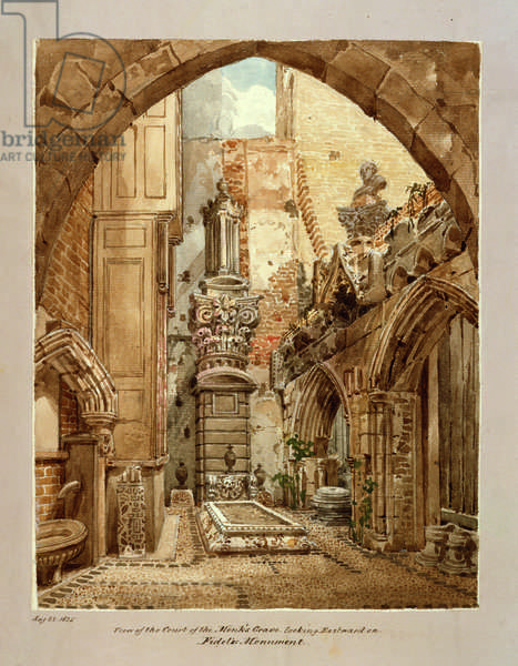 View of the Court of the Monk's Grave, 22 August 1825 (w/c on paper)
