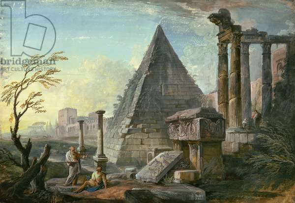 Pyramid of Caius Cestius at Rome (gouache on paper)