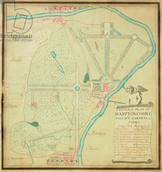 A General Plan of Hampton Court Palace Gardens and Parks, c.1713 (pen & ink and w/c on paper)