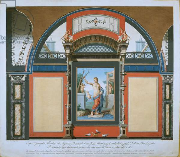 Mural decoration of the Antique Room from the Villa Negroni, 1778 (coloured engraving)