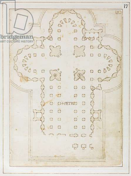 Plan of St Peter's, Codex Coner, 1513-15 (ink on paper)