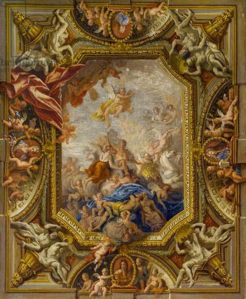 Sketch Design for the Ceiling of the Queen's State Bedchamber at Hampton Court Palace, 1715 (oil on canvas)