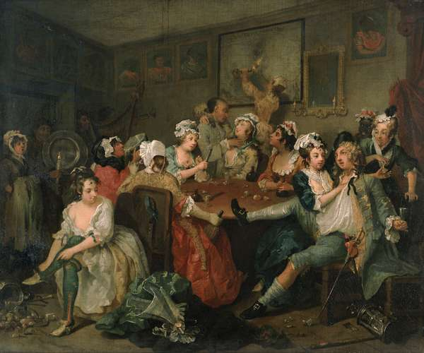 A Rake's Progress III: The Rake at the Rose-Tavern, 1733 (oil on canvas)